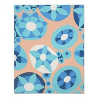 Abstract Blue Flowers Botanical Original Art Poster
