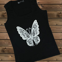 Women's Tank,Butterfly on a U Ladies Tank,Screen Printing Tank,Women's Tank,Black Tank,Size S, M, L