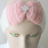 Crocheted Cream Headband With Pink Big Bow and Crystal Button/ Women Accessories /Ear Warmer / Ready to Shipping / Turban/ 2013 Trends