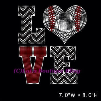 Love baseball iron on hot fix rhinestone transfers - mom team fan DIY shirts t-shirts tees custom design appliqué motif team logo