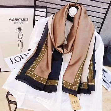 Spring Summer Women Temperament Fashion Double-Sided Spell Color Stripe Silk Scarf Shawl