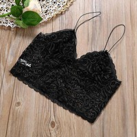 2017 Summer Women Floral Lace Sheer Camis V-Neck Strappy Sleeveless Short Tank Top Ladies Vest Tops Tees For Women 4 Colors#23