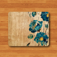 Flower Wooden Floral Wood Ink Painted Vintage Mouse Pad MousePad Desk Deco Work Pad Mat Rectangle Personal Gift Ecofriendly Sustainable Desk