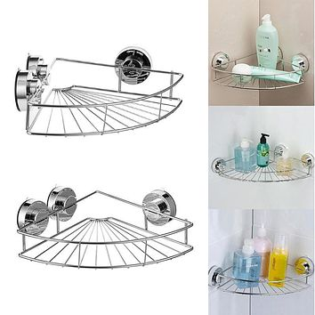 Bath Shelf Shower Caddy with Strong Suction Cups Rustproof Stainless steel Storage Basket for Bathroom Triangular