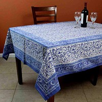 Floral Block Print Cotton Round Tablecloth Rectangle 60x90 Blue White Squ Linen