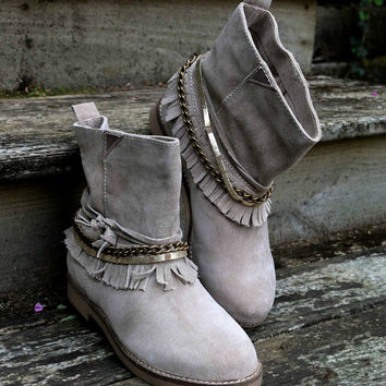 Planes & Plateaus Sand Slip On Ankle Boot With Ankle Fringe