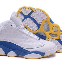Girls Air Jordan 13 Gs Melo Denver Nuggets Pe White Blue - Beauty Ticks