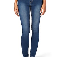 Thick Stitch Dark Wash Brushed Skinny Jean in Long