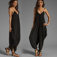 2015 Summer New Casual Sexy Women Sleeveless Deep V-Neck Jumpsuits Backless Spaghetti Strap Rompers = 1827663812