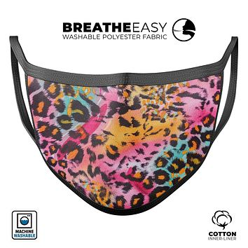 Rainbow Leopard Sherbert - Made in USA Mouth Cover Unisex Anti-Dust Cotton Blend Reusable & Washable Face Mask with Adjustable Sizing for Adult or Child