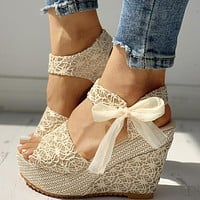 Fashion Hot Lace Leisure Women Wedges Heeled Women Shoes Sandals Party Platform High Heels Shoes Woman