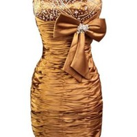 Sunvary Short Beading Cocktail Evening Dress Pageant Dress for Christmas Gold