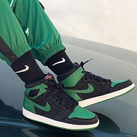 Nike Air Jordan 1 Retro High Pine Green Black Sneakers Shoes
