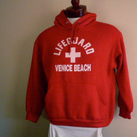 vintage 80s Venice Beach California Lifeguard red fleece hoodie graphic sweatshirt men women unisex pullover jumper white puffy print logo