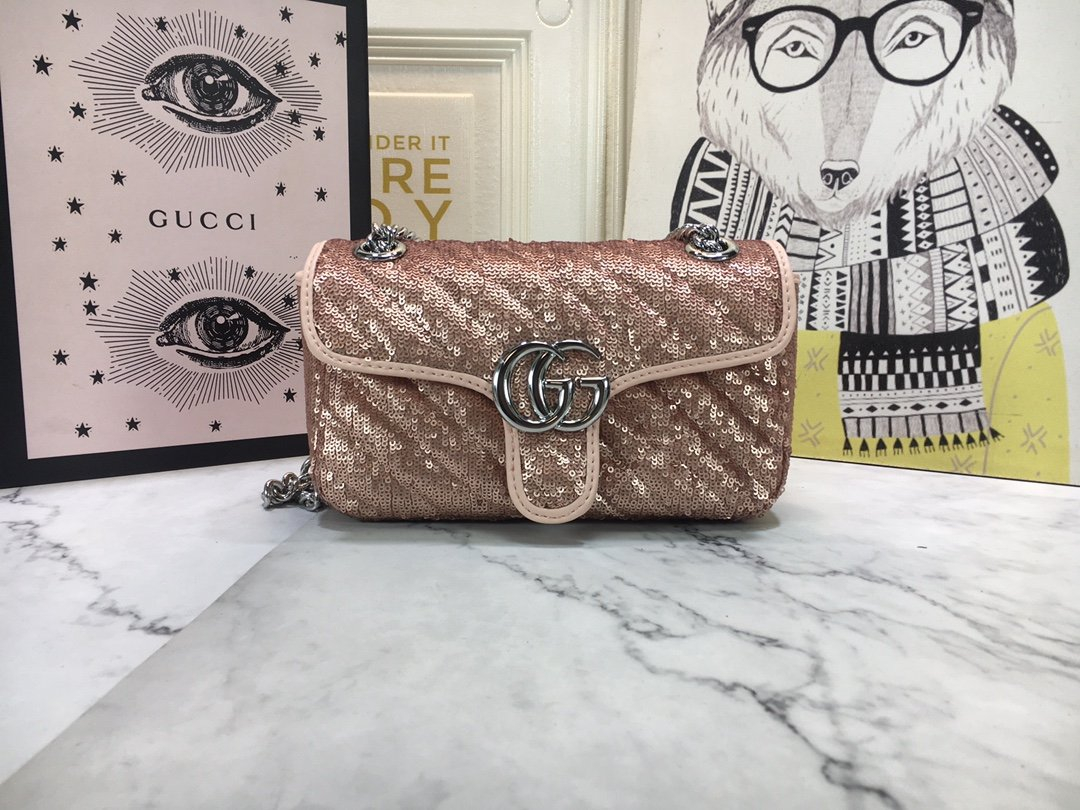 Image of Gucci2021 Women's Leather Shoulder Bag Satchel Tote Bags Crossbody26*15*7cm 0526ay