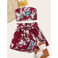 Floral Print Tube Top & Belted Shorts