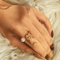 Faux Pearl Detail Cuff Ring 1pc