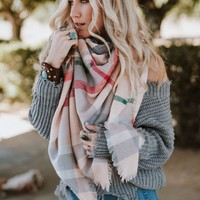 Plaid Blanket Scarf - Pink