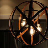 Orb Chandelier Industrial Sphere Metal Wine Barrel Strap Globe Hanging Light with 3 Thomas Edison 60w Bulbs  Wine Barrel Orb Chandelier