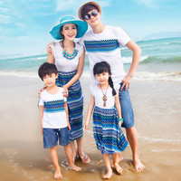 Authentic Mother Daughter Dresses Wave Pattern Family Matching Clothes Summer Cotton T shirt Family Look Beach Wear 2017