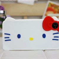 DC 3d Bow White Hello Kitty Soft Protective Case for Apple Iphone 4 and 4s(white Case, Red Bow)