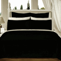 Black Solid Down Alternative 4-pc Comforter Set 100% Combed cotton 550TC