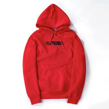SUP phantom printing long-sleeved hooded sweater men and women in autumn and winter plus velvet sweater Red