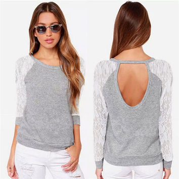 Fashion Women Hollow Bandage Lace Long Sleeve Round Necked T-Shirt _ 10639