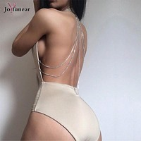 women's jumpsuits sexy bodycon fitness romper bodysuits deep v neck backless  femme stretch short pants jumpsuit