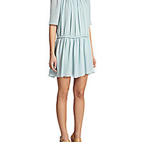 Chloé - Gathered Silk Crepon Dress - Saks Fifth Avenue Mobile