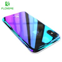 FLOVEME Phone Cases For iPhone X Luxury Blue Ray Ultra Slim Hard Protective Back Cover For iPhone 8 7 Plus Accessories Case Capa