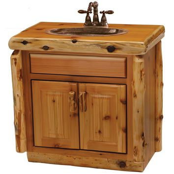 Cedar Vanity with Slab Style Top, Liquid Glass Finish