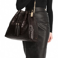 MADISON LARGE DRAWSTRING SHOULDER BAG IN CROC EMBOSSED LEATHER