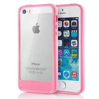 iPhone 5S Case, MOTOMO [Pink] [Achrome] iPhone 5S Bumper Case [Transparent Hybrid] [Shockproof] Scratch Resistant Clear Back Cover Case - Verizon, AT&T, Sprint, T-Mobile, International, and Unlocked - Case for iPhone 5 / iPhone 5S - Retail Packaging - Pink