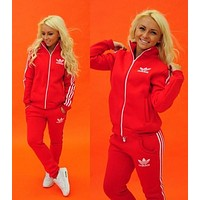 Adidas Fashion Sport Gym Set Two-Piece Pants Coat Sportswear