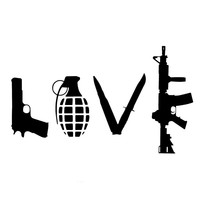 "LOVE With Guns Car Vinyl Sticker (3"" x 5"")"