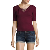 Arizona Lace Up Tee-Juniors - JCPenney