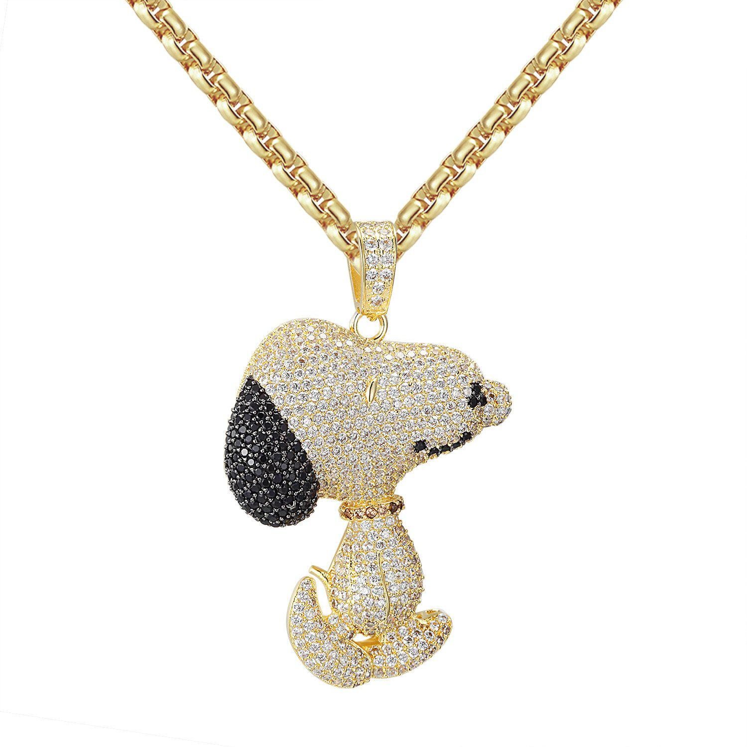 """Image of Custom Iced Out 14k Gold Finish Black Snoopy Dog Pendant with 24"""" Free Box Chain"""