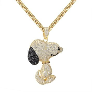"""Custom Iced Out 14k Gold Finish Black Snoopy Dog Pendant with 24"""" Free Box Chain"""