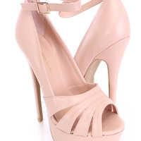 Nude Peep Toe Ankle Strap Heels Faux Leather