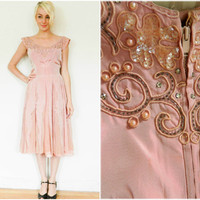 50s vintage dress / beaded dress / DISTRESSED swing dress / Pink evening gown / for study / theater / rockabilly fifties dress / size s xs