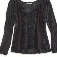 AEO Women's Cropped Lace Button Down Top