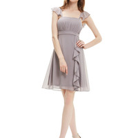 Chiffon Cocktail Dresses Ever Pretty HE03337 Plus Size Ruffles Calf-length Summer Style Party Dresses