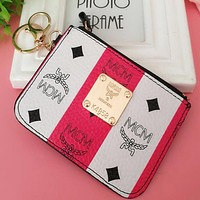 """""""MCM"""" Popular Simple White Red Stripe Leather Card Pack Card Bag Card Zipper Mini Thin Card Package Zero Wallet I12551-8"""