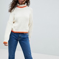 ASOS PETITE Chunky Crop Sweater With High Neck And Tipping at asos.com