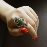 Luxury Statement Jewelry Vintage Emerald Hurrem Sultan Ring Micro Pave Rhinestone Crystal Women Rings Free Shipping