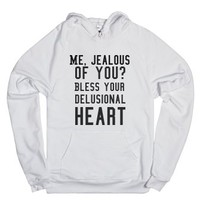 Delusional-Unisex White Hoodie