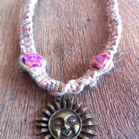 Bronze Sun Pink Orange Hemp Necklace by IzzaBean on Etsy