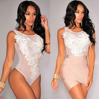 White Floral Pattern Sheer Mesh Bodysuit
