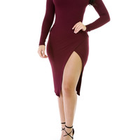 Knitted Up Midi Wine